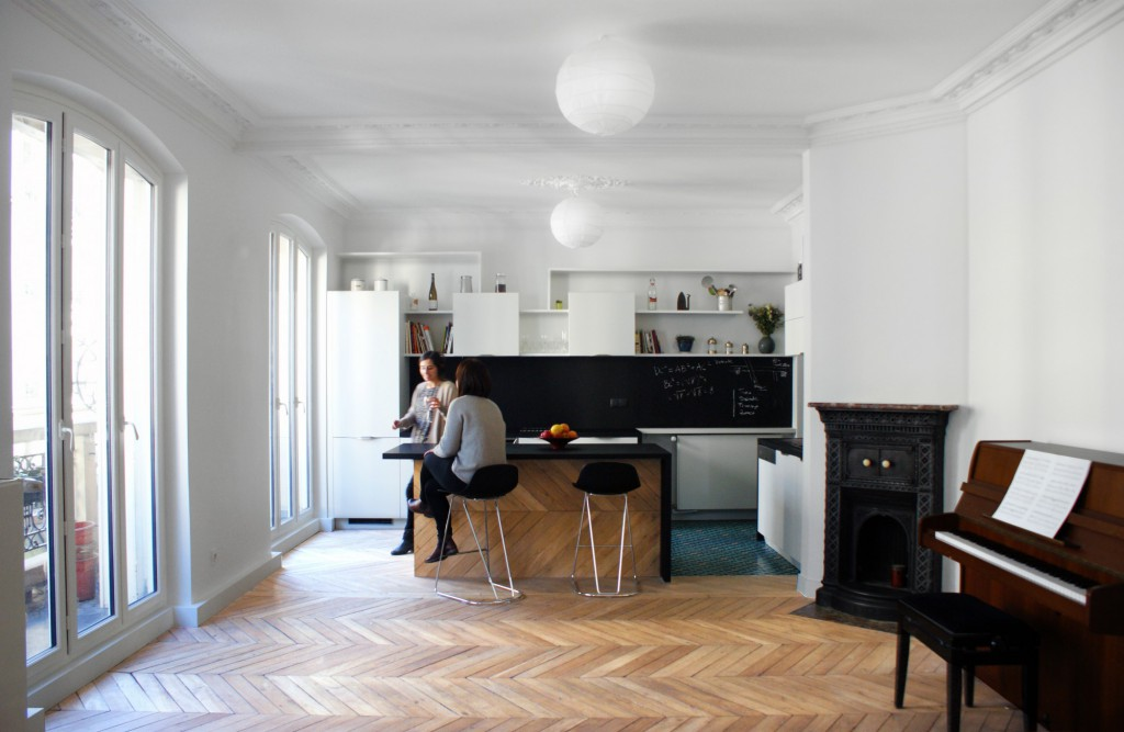 saint maur r union de 2 appartements en 1 par florence gaudin architecte. Black Bedroom Furniture Sets. Home Design Ideas